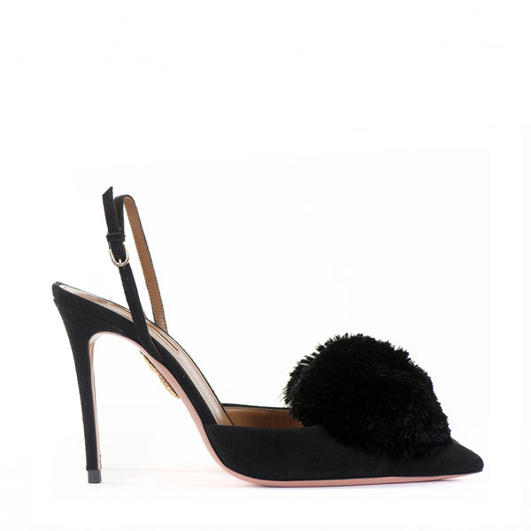 Suede Powder Puff Sling Backs 39
