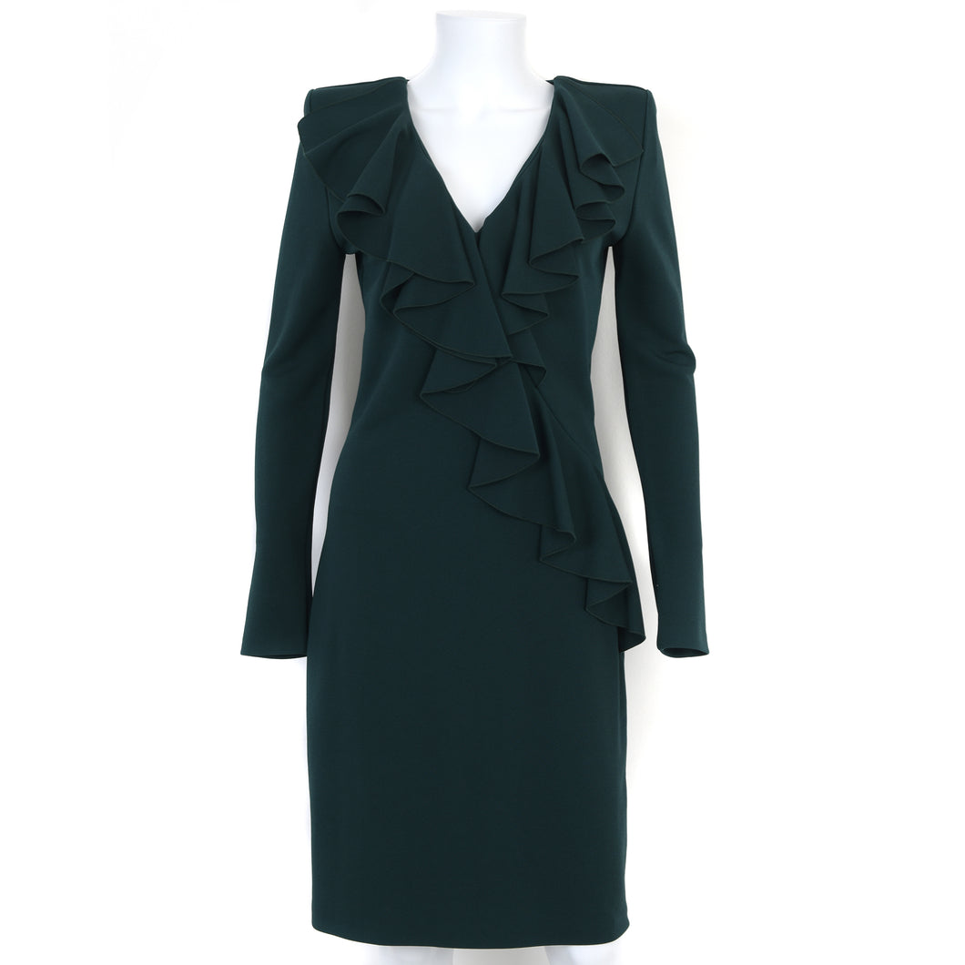 Dark Green Long Sleeve Ruffle Dress UK12