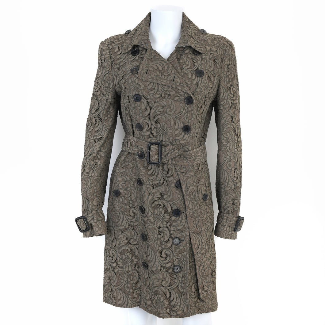 Khaki Lace Belted Trench Coat UK10