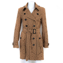 Load image into Gallery viewer, Camel Lace Belted Trench Coat UK10