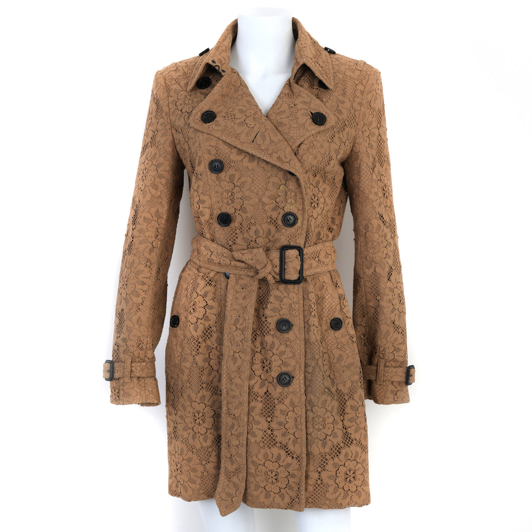 Camel Lace Belted Trench Coat UK10