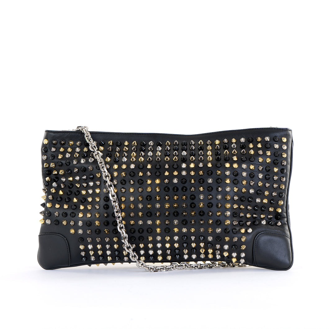 Loubiposh Mixed Metal Spiked Clutch