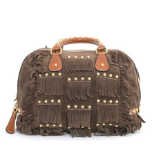 Load image into Gallery viewer, Brown Suede Tassel Bowling Bag