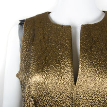 Load image into Gallery viewer, Metallic Gold Peplum Dress UK 8