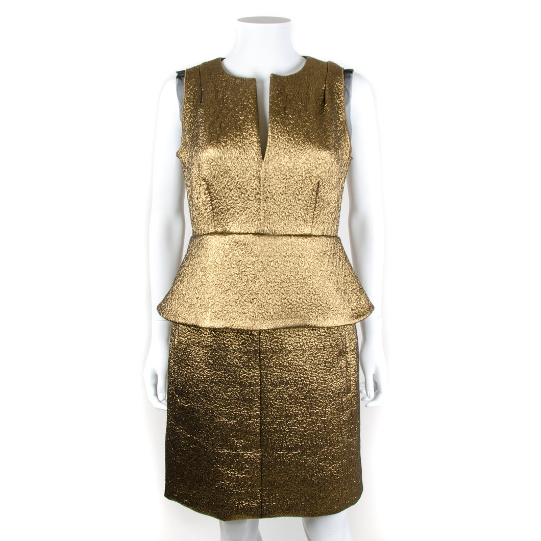 Metallic Gold Peplum Dress UK 8