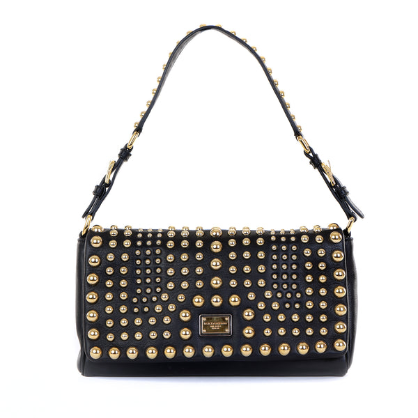 Leather Gold Studded Shoulder Bag