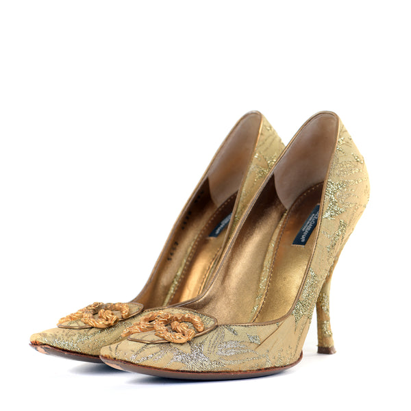 Vintage Brocade Court Shoes EU39