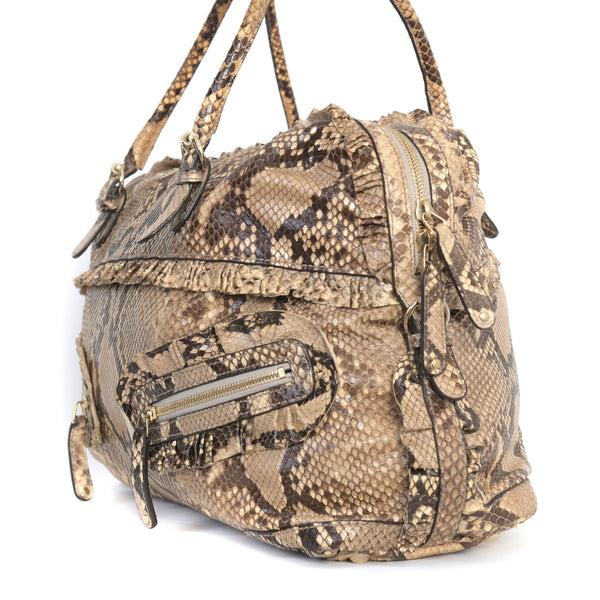 Python Ruffle Sabrina Boston Bag