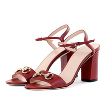 Load image into Gallery viewer, Red Horsebit Block Heel Sandals 39