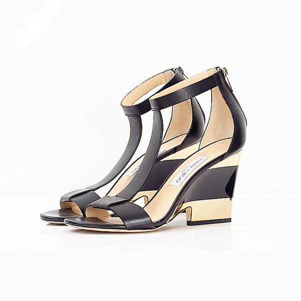 Leather Gold Wedge Sandals 39