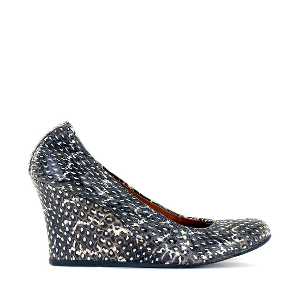 Grey Python Scrunch Wedges EU39
