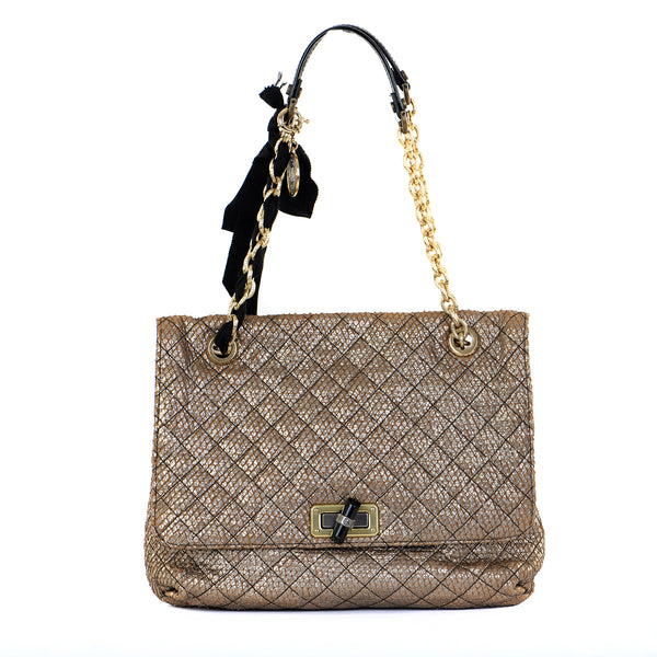 Happy Sac Metallic Quilted Charm Shoulder Bag