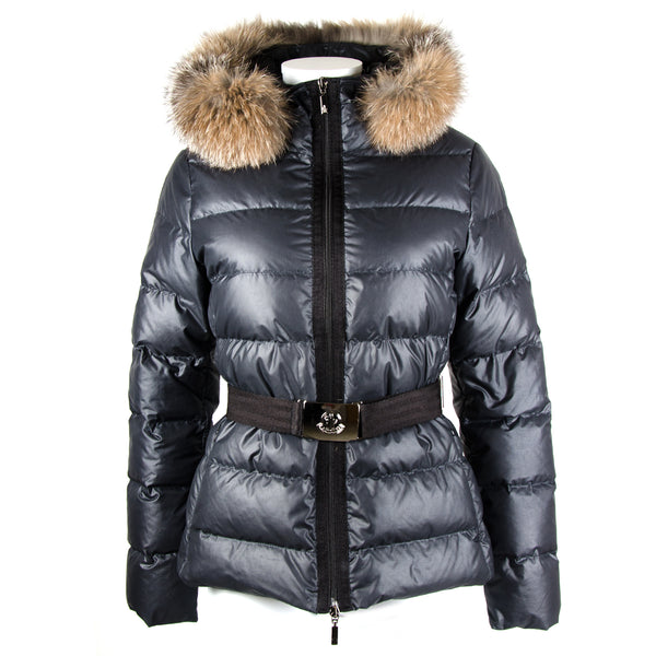 Black Belted Down Jacket UK10