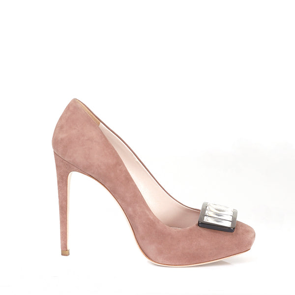 Blush Suede Square Toe Courts 39