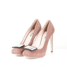 Load image into Gallery viewer, Blush Suede Square Toe Courts 39