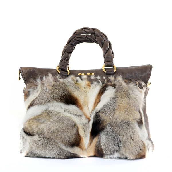 Fox Fur Top Handle Leather Bag