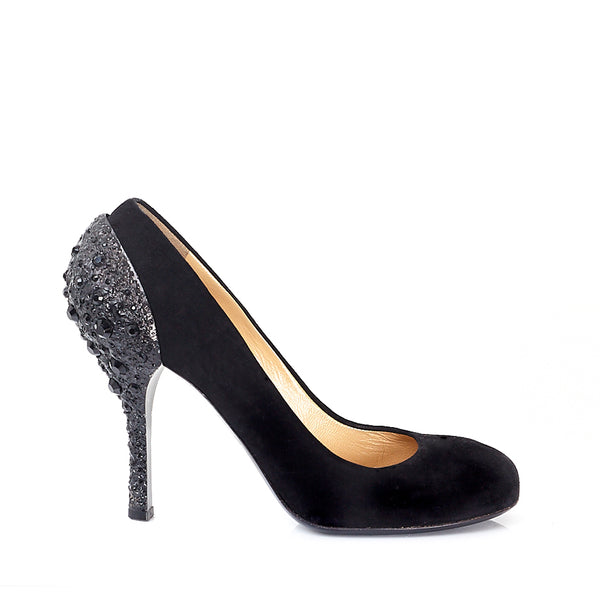 Suede Round Toe Jewel Encrusted Courts UK 6