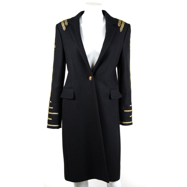 Black Military Wool Coat UK12