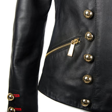 Load image into Gallery viewer, Black Military Leather Jacket UK12