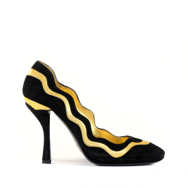 Black & Gold Suede Heels 39