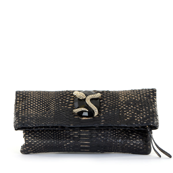 Black Python Fold Over Clutch