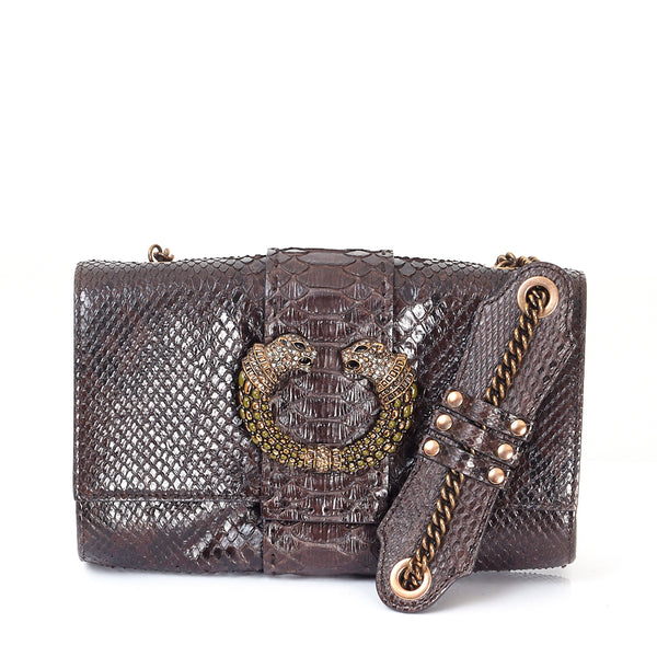 Brown Python Mini Shoulder Bag