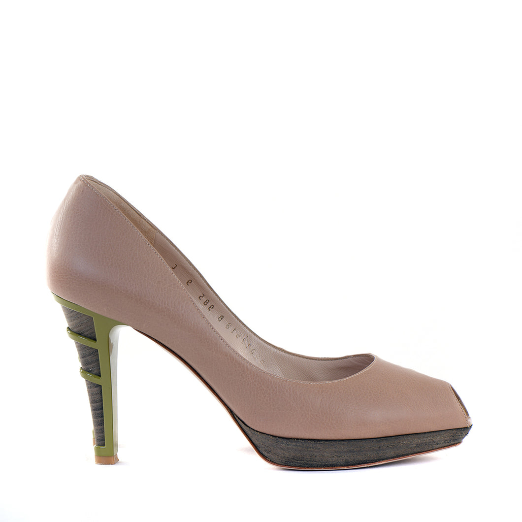 Nude Contrast Heel Peep-Toe Shoes EU39
