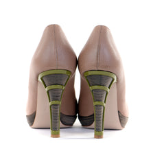 Load image into Gallery viewer, Nude Contrast Heel Peep-Toe Shoes EU39