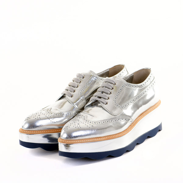 Silver Leather Platform Brogues 39