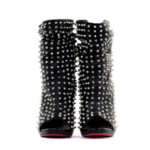 Load image into Gallery viewer, Black Studded Peep-Toe Boots 39
