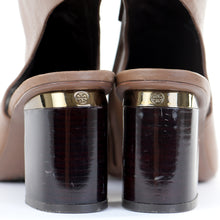 Load image into Gallery viewer, Tan Peep Toe Shoe Boots EU39