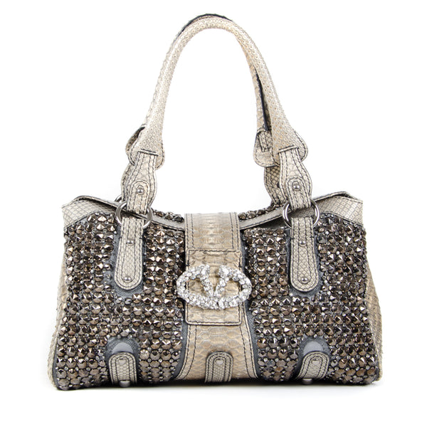 Python Embellished Top Handle Bag