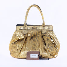 Load image into Gallery viewer, Gold Python Roccia Puffy Hobo Bag