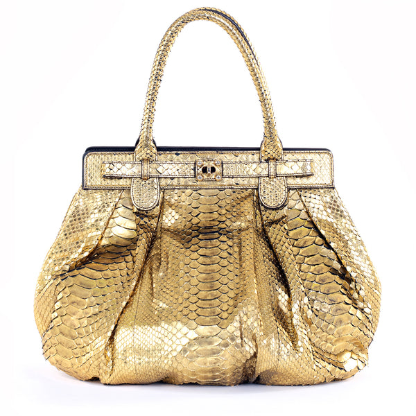Gold Python Roccia Puffy Hobo Bag
