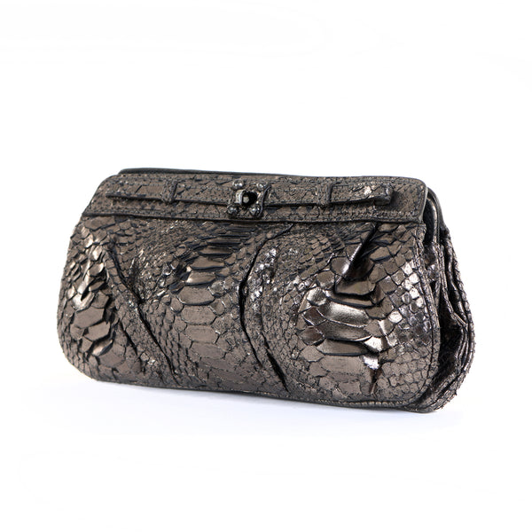Pewter Python Clutch Bag