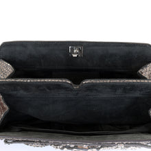 Load image into Gallery viewer, Pewter Python Clutch Bag