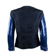 Load image into Gallery viewer, Blue Sequin Denim Jacket UK 8