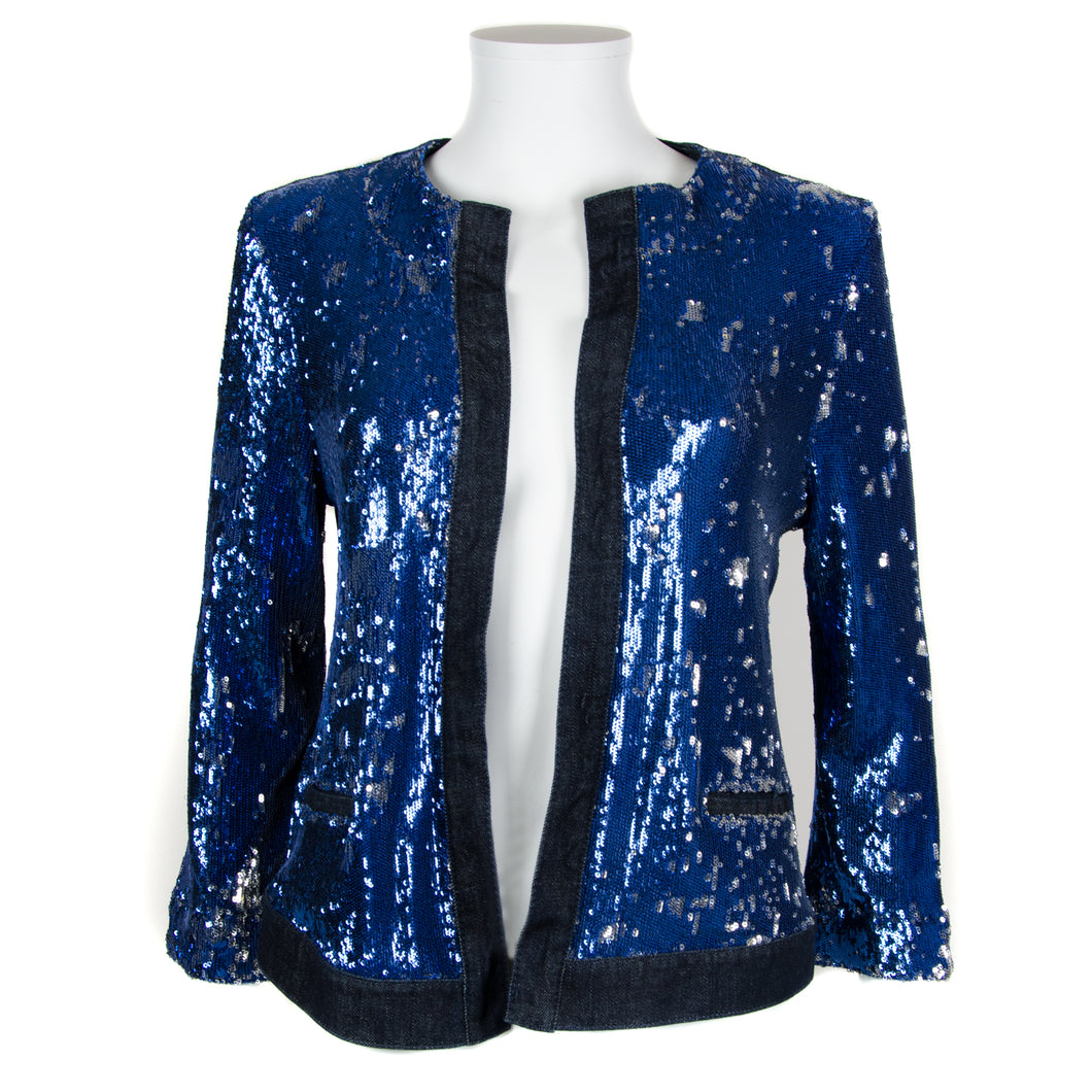 Blue Sequin Denim Jacket UK 8