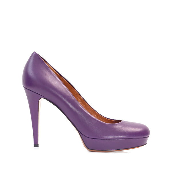 Purple Leather Platform Courts 39