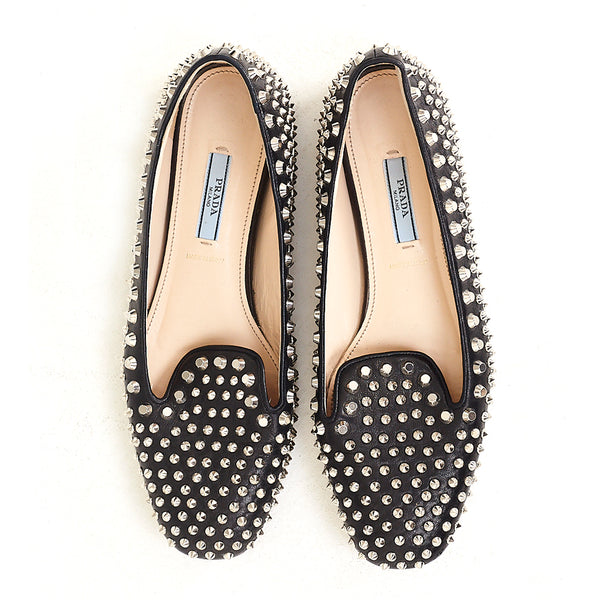 Leather Studded Loafers 39