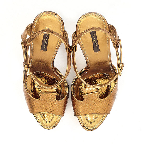 Bronze Python Tortoise Shell Sandals 40