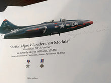 Load image into Gallery viewer, Artifact of history: Grumman F9F-5 Panther print signed by Korean War hero, Royce Williams