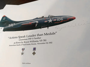 Artifact of history: Grumman F9F-5 Panther print signed by Korean War hero, Royce Williams