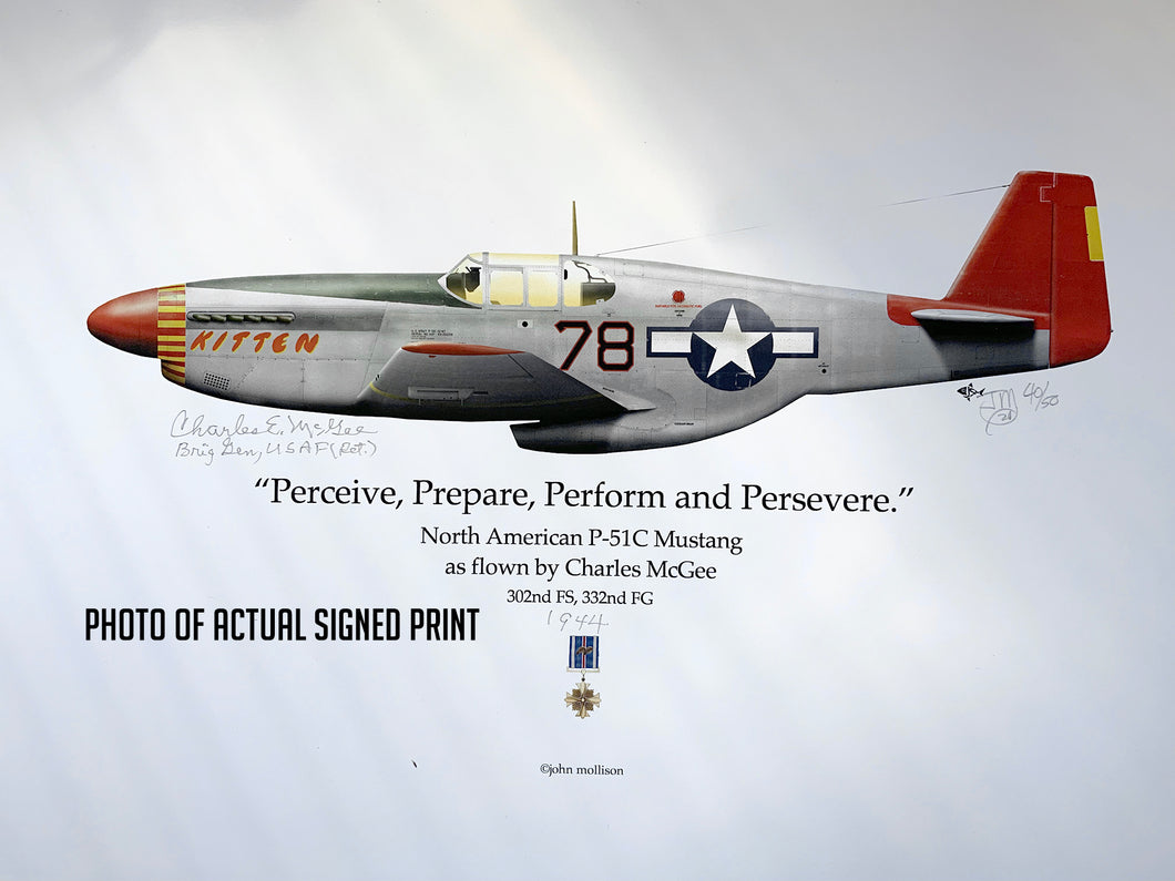 Pilot-Signed Limited Edition Print - Artwork of Brigadier General McGee's WWII P-51C fighter plane