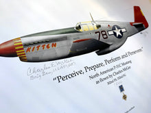 Load image into Gallery viewer, Pilot-Signed Limited Edition Print - Artwork of Brigadier General McGee's WWII P-51C fighter plane