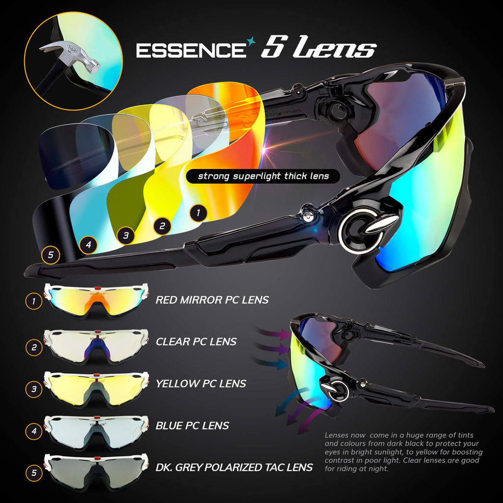 Cycling Glasses with 5 Interchangeable lenses - Midnight Black