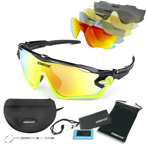 Sports Sunglasses with 5 Interchangeable lenses - Black / Green