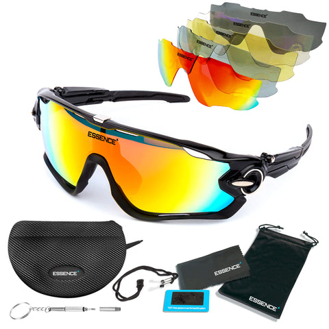 Sports Sunglasses with 5 Interchangeable lenses - Midnight Black