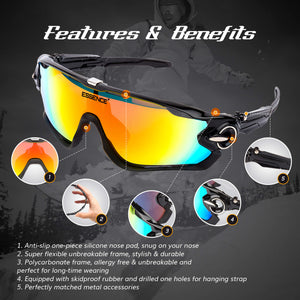 Polarised Sports Sunglasses with 5 Interchangeable lenses - Midnight Black