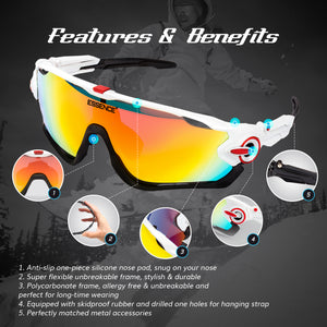 Polarised Sports Sunglasses with 5 Interchangeable lenses - White / Red